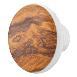 Brown-Imitat-hölzerner Druck Keramikknauf