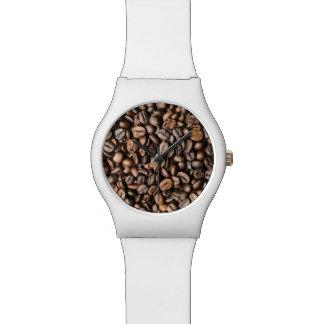 Brown-Kaffeebohne-Hintergrund Uhr