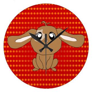 Brown-Kaninchen-runde Uhr