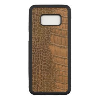Brown-Krokodil-nachgemachtes Imitat-veganes Tier Carved Samsung Galaxy S8 Hülle