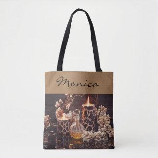 Brown leuchtet Parfüm-Blumen-Typografie durch Tasche