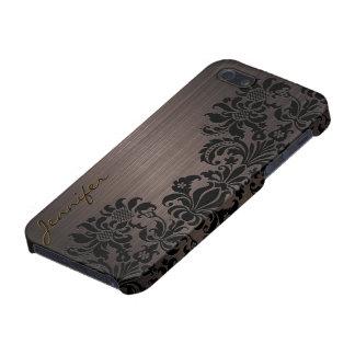 Brown-metallische gebürstete Aluminium- u. Blumend Etui Fürs iPhone 5