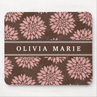 Brown-Name erröten rosa Blumen-Blüten-Muster Mauspads