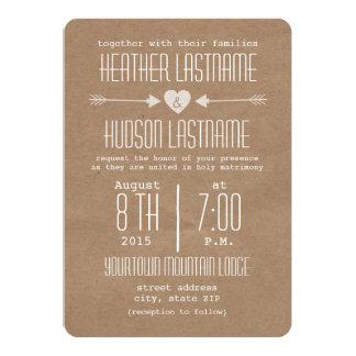 Brown-Papier-inspirierte Pfeile + Herz-rustikales 12,7 X 17,8 Cm Einladungskarte