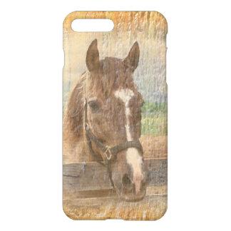 Brown-Pferd mit dem Halter auf altem Holz iPhone 8 Plus/7 Plus Hülle