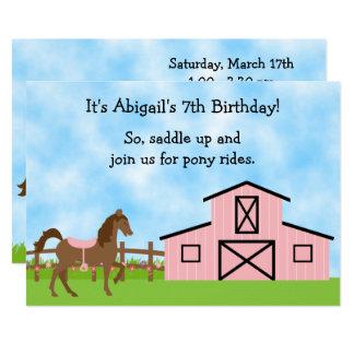 Brown-Pferd, rosa Scheunen-Pony reitet Geburtstag 12,7 X 17,8 Cm Einladungskarte