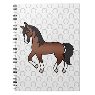 Brown-Pferdetrotten und Hufeisen-Muster Notizblock