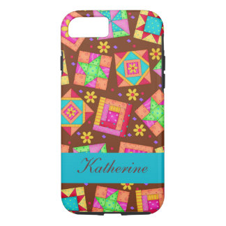 Brown Quilt Art Patchwork Blocks Name Personalized iPhone 7 Hülle