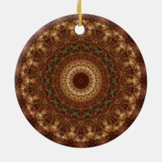 Brown, TAN u. grüne WeihnachtsMandala Rundes Keramik Ornament