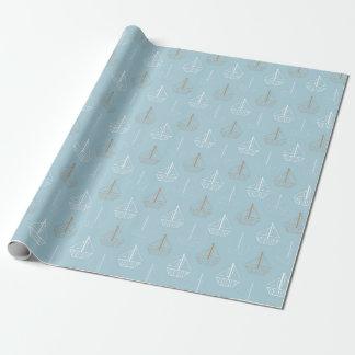 Brown u. weiße Segelboote auf Blau Geschenkpapier