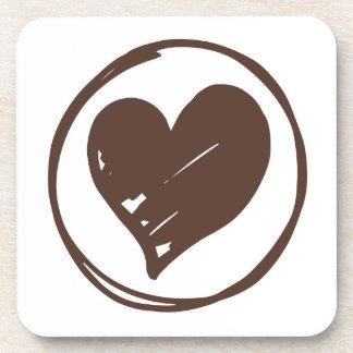 Brown u. weißes Herz - Liebe, Hochzeit, Brautparty Getränk Untersetzer
