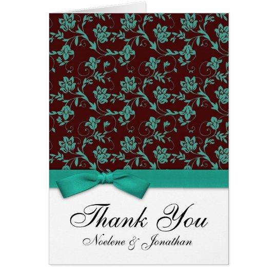 Brown und aquamariner Bogen danken Ihnen zu Grußkarte