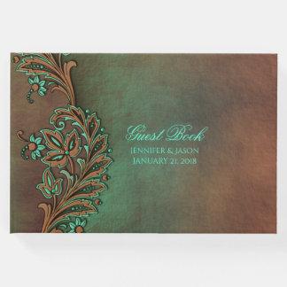 Brown und grünes Hochzeit im Herbsts-Gast-Buch Gäste Buch