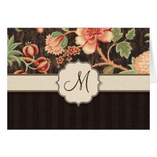Brown-und Pfirsich-Retro Blumen-, Streifen und Grußkarte