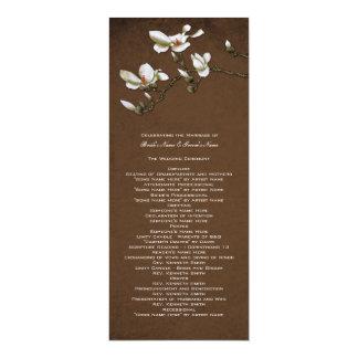 Brown und weißes Magnolien-Hochzeits-Programm 10,2 X 23,5 Cm Einladungskarte