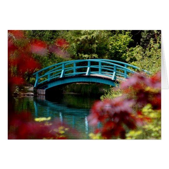 Brücke, große Frühlings-Gärten Grußkarte