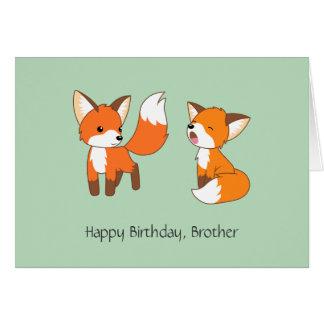 Bruder-Geburtstag - kleine Füchse Karte