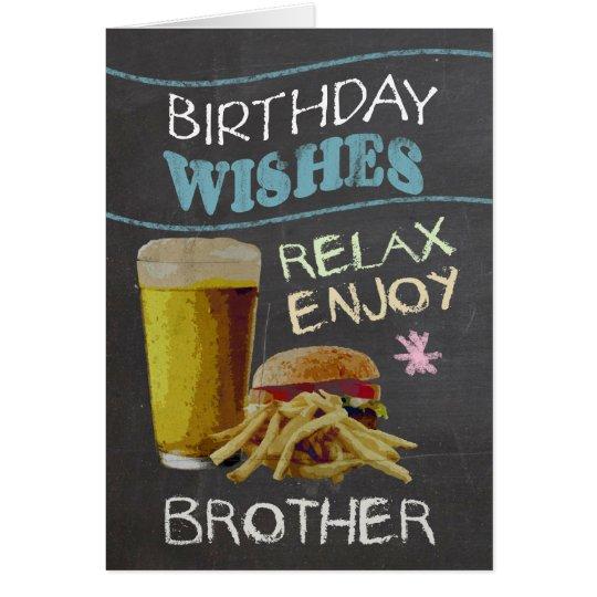 Bruder-modischer Kreide-Brett-Effekt, mit Bier Grußkarte