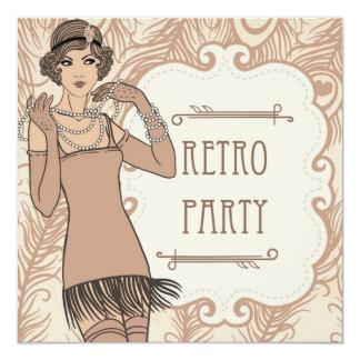Brüllenzwanziger jahre Prallplatten-Mädchen-Retro Quadratische 13,3 Cm Einladungskarte