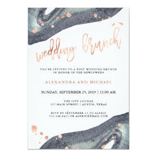 Brunch gris rose de mariage de courrier de l'or | carton d'invitation  12,7 cm x 17,78 cm