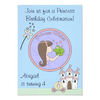 Brunett Prinzessin-, Frosch-und Einhorn-Geburtstag Personalisierte Ankündigung