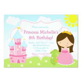 Brünette niedliche Prinzessin und 12,7 X 17,8 Cm Einladungskarte