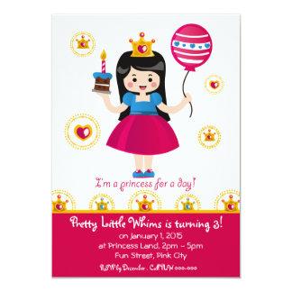 Brünette Prinzessin Birthday Invitation Card 12,7 X 17,8 Cm Einladungskarte