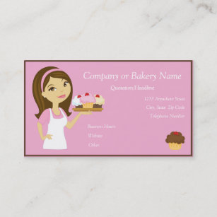Brünetter/rosa Kuchen Bäcker/Geschäfts Karte Der Visitenkarte