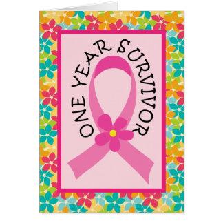 Brustkrebs-1-jähriges Überlebend-Rosa-Band Grußkarte