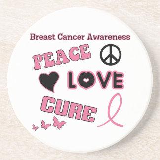 Brustkrebs-Bewusstsein Sandstein Untersetzer