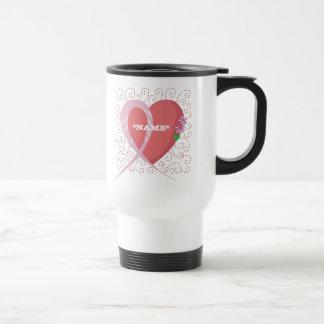 Brustkrebs-Herz-kundengerechte Reise-Tasse Reisebecher