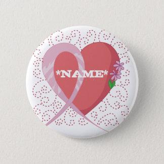Brustkrebs-Herz-kundengerechter Knopf Runder Button 5,1 Cm