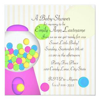 Bubblegum Babyparty Quadratische 13,3 Cm Einladungskarte