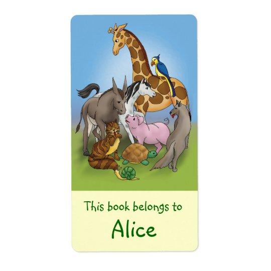 Buch-Aufkleber mit süßen Tieren