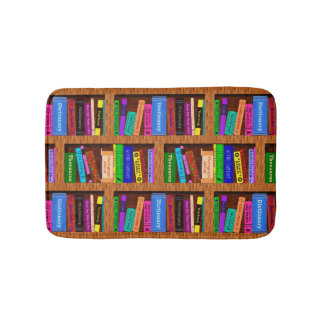 Buch-Bibliotheks-Bücherregal-Muster für Leser Badematte