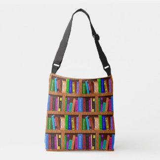 Buch-Bibliotheks-Bücherregal-Muster für Leser Tragetaschen Mit Langen Trägern