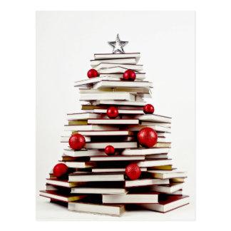 Buch-Weihnachtsbaum Postkarte