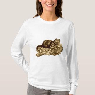 Bücherwurm-Miezekatze-Katzen-Lesebücher T-Shirt