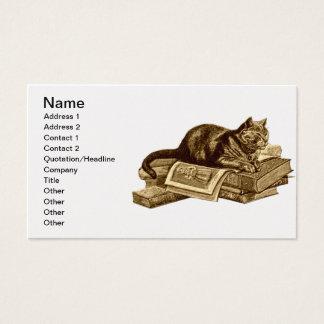 Bücherwurm-Miezekatze-Katzen-Lesebücher Visitenkarte