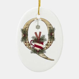 Buchstabe-Kunst - Q - Ovales Keramik Ornament