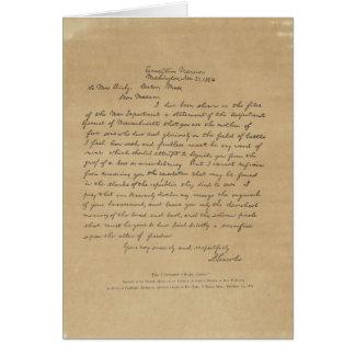 Buchstabe Präsidenten-Abraham Lincolns zu Frau Karte