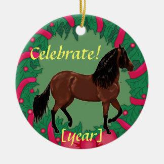 Bucht Paso Fino Pferd feiern Weihnachten Keramik Ornament
