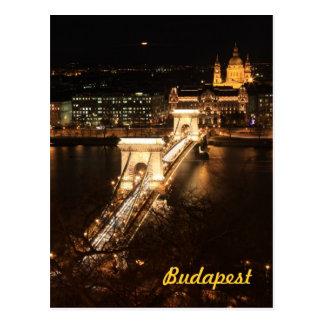 Budapest bis zum Nacht Postkarte