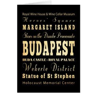 Budapest-Stadt der Ungarn-Typografie-Kunst Karte