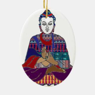 BUDDHA-Buddhismus 2 Seite Druck-VERZIERUNG Ovales Keramik Ornament