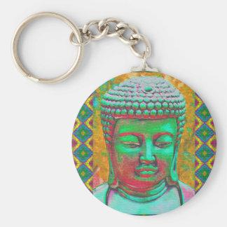 Buddha-Pop in aquamarinem Grünem und im Rot Schlüsselanhänger