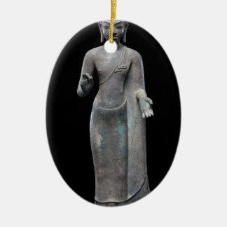 Buddha-Predigen Ovales Keramik Ornament