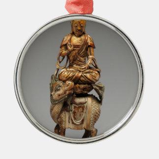 Buddha Shakyamuni mit begleitenden Bodhisattvas Rundes Silberfarbenes Ornament