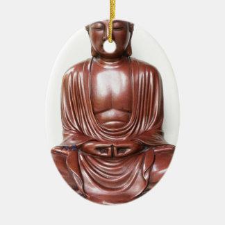 Buddha-Statue - dunkelrot, minimal Ovales Keramik Ornament