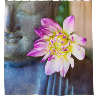 Buddha und rosa DahlieDuschvorhang Duschvorhang